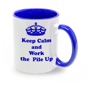 Taza azul Keep Calm and work the Pile Up